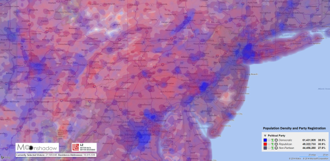 Population-Density-and-Party-Registration-in-Pittsburg-NY-DC-Triangle