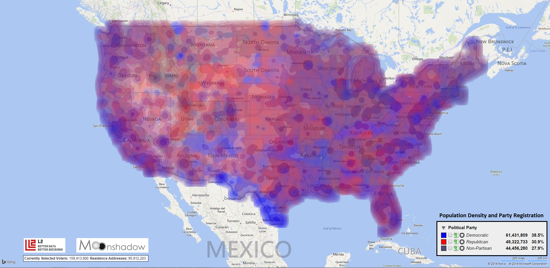 Data Density Maps for Registered Voters - Moonshadow on